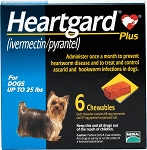 Heartgard Plus Chew Tabs For Dogs Up To 25 lbs 6 Doses 10/pk