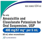 Amoxicillin & Clavulanate Potassium for Oral Suspension 400mg/57mg 50mL