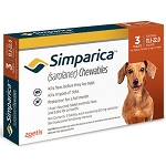 Simparica™ Chewable Tabs For Dogs Caramel 11.1-22 lbs 3 Doses (exp 08/31/21)