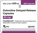 Duloxetine HCl Delayed Release Caps 60mg #1000