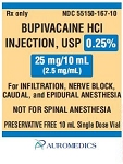 Bupivacaine HCl Inj 0.25%  2.5mg/mL 10mL Vial