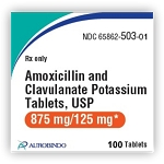Amoxicillin and Clavulanate Potassium Tabs 875mg/125mg #100