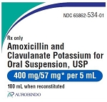 Amoxicillin & Clavulanate Potassium for Oral Suspension 400mg/57mg 100mL