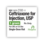 Ceftriaxone for Injection 1gm 15mL SDV 10/pk
