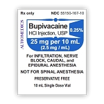 Bupivacaine HCl Injection 0.25% 25mg/mL 10mL Vial 25/pack
