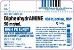 Diphenhydramine 50mg/mL 1mL 25/pack