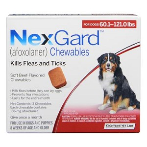 NexGard™ Chewables 3 Doses Red 60.1-121 lbs