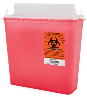 "Sharps Container 10.75""H x 10.5""W x 4.75""D 5 Quart"