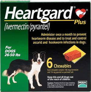 Heartgard Plus Chew Tabs For Dogs 26-50 lbs 6 Doses 10/pk