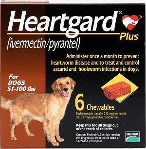 Heartgard Plus Chew Tabs For Dogs 51-100 lbs 6 Doses