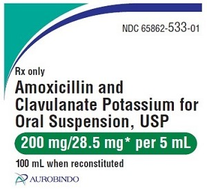 Amoxicillin & Clavulanate Potassium for Oral Suspension 200mg/28.5mg 100mL